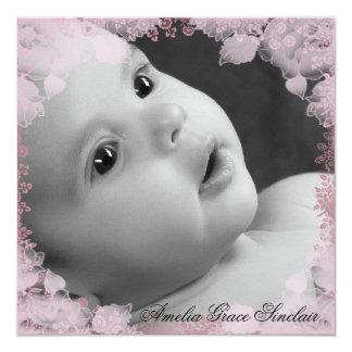 Faire-part de naissance rose de photo de fleur de