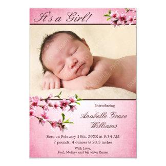 Faire-part de naissance rose de photo de fleurs de