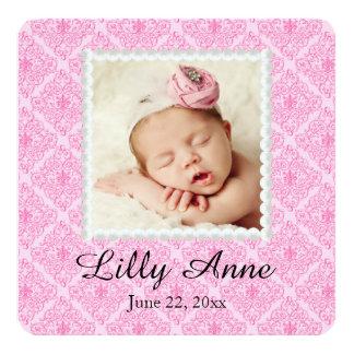 Faire-part de naissance rose doux de bébé de