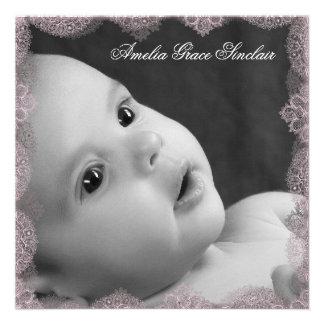 Faire-part de naissance rose et noir élégant de ph