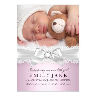 Faire-part de naissance rose vintage de photo de