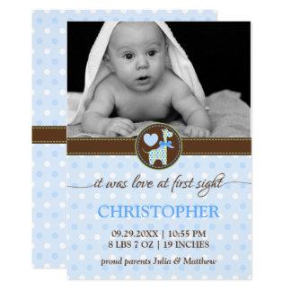 Faire-part de naissance vert-bleu de photo de bébé