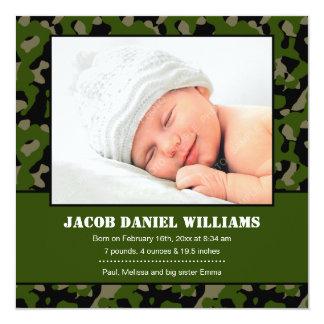 Faire-part de naissance vert de photo de bébé de