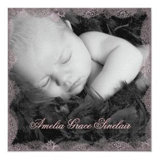 Faire-part de naissance vintage de photo de noir