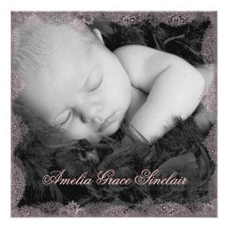 Faire-part de naissance vintage de photo de noir r