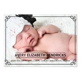 Faire-part de naissance vintage de photo du cadre