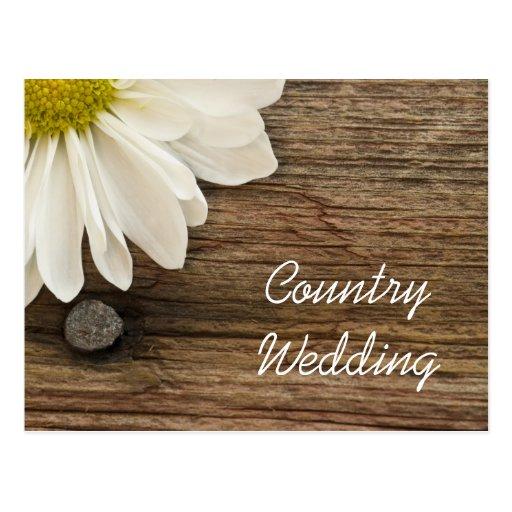 La marguerite et le mariage campagnard en bois de carte postale Zazzle # Faire Part En Bois