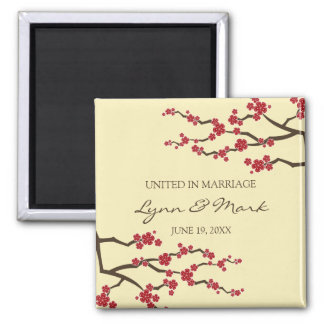Faire-part floral de mariage de Sakura de fleurs Magnet Carré