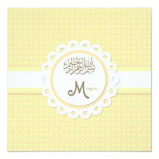 Faire-part islamique de bébé de bismillah de carton d'invitation  13,33 cm