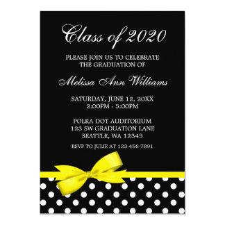 Faire-part jaune d'obtention du diplôme de pois carton d'invitation  12,7 cm x 17,78 cm