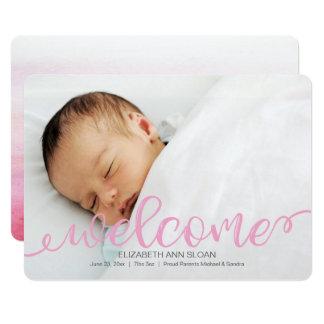 Faire-part manuscrit de photo de naissance de bébé