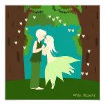 Faire-part mariage couple d'elfes cœur forêt
