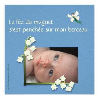 Faire-part naissance muguet et fée felt bleu gris
