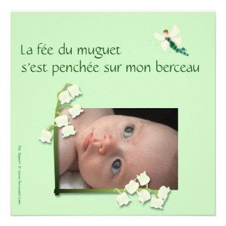 Faire-part naissance muguet et fée felt vert pale