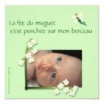 Faire-part naissance muguet et fée felt vert pale carton d'invitation  13,33 cm