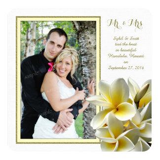 Faire-part privé de mariage de Plumeria tropical
