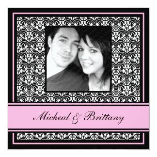Faire-part rose de fiançailles de mariage damassé carton d'invitation  13,33 cm