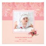 Faire-part rose de photo de bébé de Paisley
