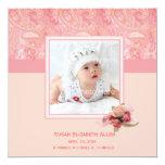 Faire-part rose de photo de bébé de Paisley Carton D'invitation 13,33 Cm