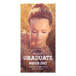 Faire-part vintage d'obtention du diplôme de diplô cartes avec photo