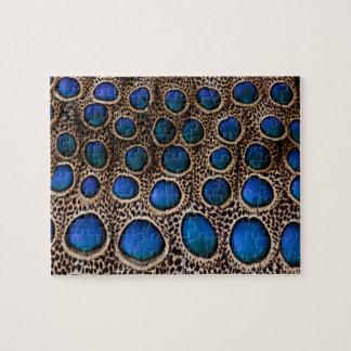 Faisan de paon repéré par bleu puzzle