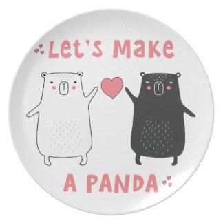 faisons un panda assiettes en mélamine