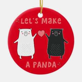 faisons un panda ornement rond en céramique