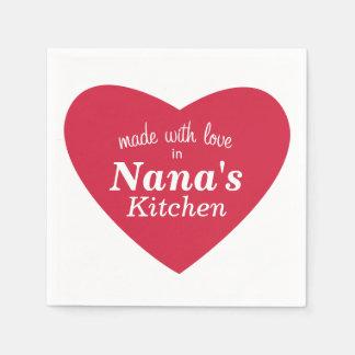 Fait avec l'étiquette de nourriture d'amour serviette en papier