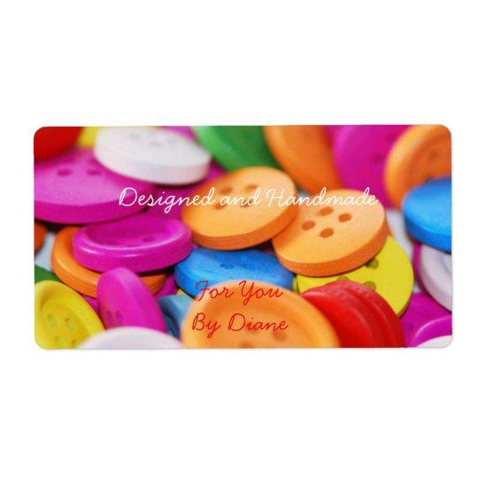 Fait main pour vous étiquette coloré de boutons