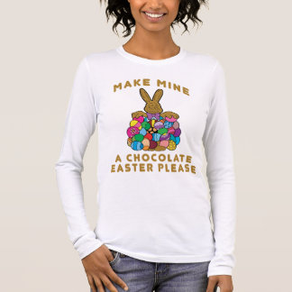 Faites à les miens les dames de Pâques de chocolat T-shirt À Manches Longues