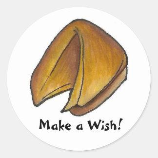 Faites à un biscuit de fortune de souhait le fin sticker rond