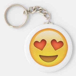 Faites face avec l'autocollant en forme de coeur porte-clé rond