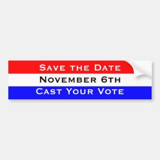 Faites gagner date le 6 novembre émettent votre autocollant de voiture