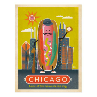 Faites gagner la date   Chicago, IL - hot-dog Carte Postale