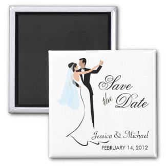 Faites gagner la date - jeunes mariés de danse magnet carré