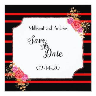 Faites gagner la date rouge et noire carton d'invitation  13,33 cm