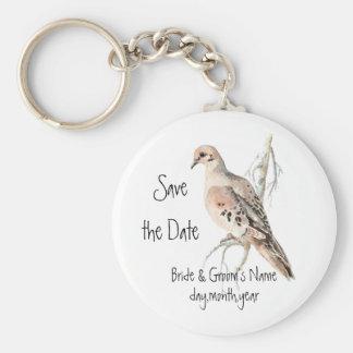 Faites gagner la date, tourterelle, mariage d'oise porte-clé rond