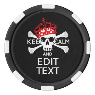 Faites garder votre texte le crâne calme d'os jetons de poker