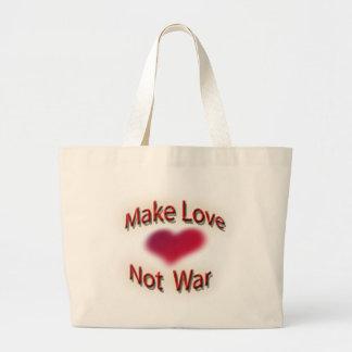 Faites la guerre d'amour pas sac en toile jumbo