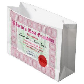 Faites le meilleur certificat de récompense de la grand sac cadeau