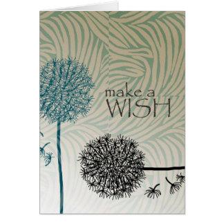 Faites les pissenlits d'un souhait carte de vœux
