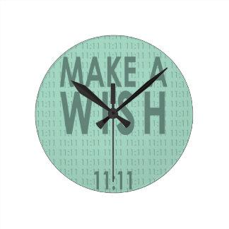 Faites un 11h11 de souhait horloge ronde