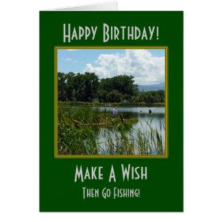Faites un souhait pêchant la carte d'anniversaire