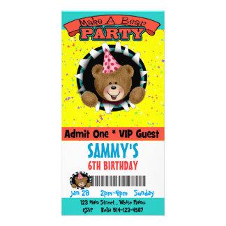 Faites une invitation de partie d'ours photocarte customisée