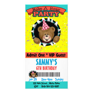 Faites une invitation de partie d'ours photocartes