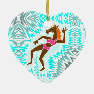 Faites une licorne d'éclaboussure ornement cœur en céramique