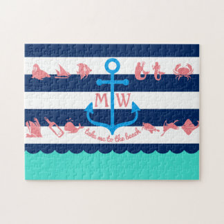 Faites vos propres rayures nautiques d'ancre puzzle