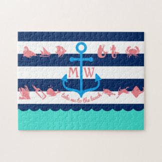 Faites vos propres rayures nautiques d'ancre puzzles