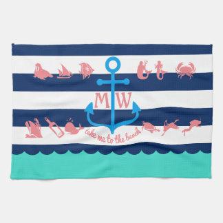 Faites vos propres rayures nautiques d'ancre serviette pour les mains