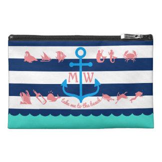 Faites vos propres rayures nautiques d'ancre trousses à accessoires de voyage